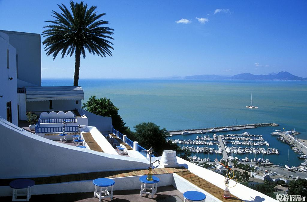 突尼斯西迪-布塞邻近首都突尼斯市的西迪-布塞座落于陡峭的悬崖边,将地中海的美景尽收眼底,除了绝美的景...