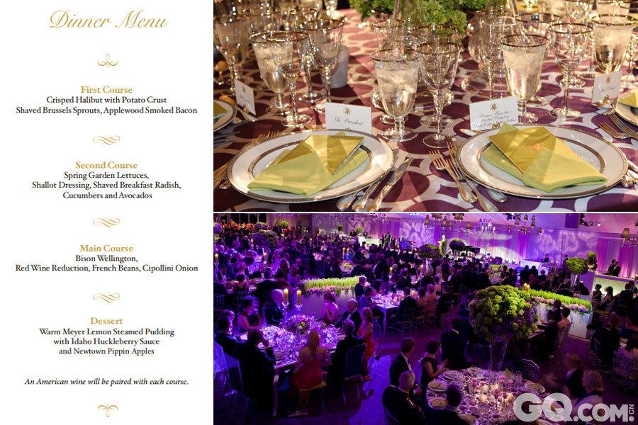 """2012年3月14日晚间,奥巴马夫妇在白宫设国宴热情款待英国首相卡梅伦夫妇。晚宴主题是蓝色,两位第一夫人和多位贵宾都身着蓝色礼服出席。晚宴菜单提供英美佳肴,国宴主菜是牛肉,佐以美国红酒,生菜沙拉以白宫后院的蔬菜制成。   国宴的主题为""""收获""""。第一道菜是炸比目鱼配煎马铃薯,辅以采自白宫花园的新鲜嫩甘蓝、布鲁塞尔小包菜以及苹果木熏肉。   第二道菜是春季花园莴苣沙拉,配以葱头、萝卜、黄瓜和鳄梨。   主菜是惠灵顿牛肉,为纪念英国军人和政治家惠灵顿公爵而特制,外带酥皮,用美国北达科他州的牛里脊肉做成,浇上少量红酒,配以四季豆和西伯利尼洋葱。   甜点是柠檬布丁配爱达荷州浆果酱,纽镇高级苹果。   此外,每道菜都配有一款美国产的葡萄酒。"""