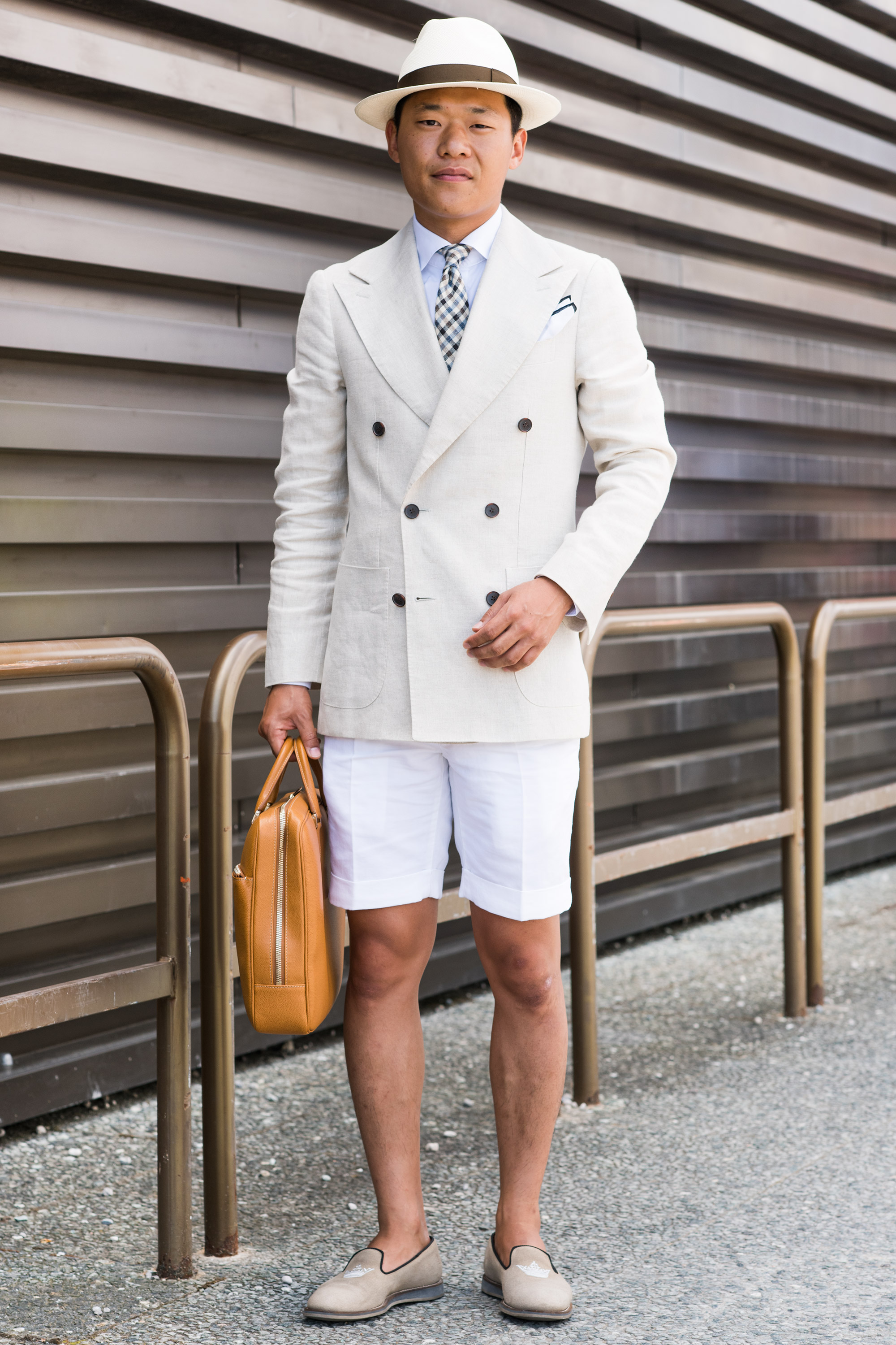 Kim Hat: Borsalino Jacket, tie and shirt: Suit Supply Shorts: Incotex Shoes: Church's Bag: Valextra  Cheapest: My shorts Oldest piece: my hat  Inspiration: I wanted a soft color palette(我想要一种轻柔的色调)