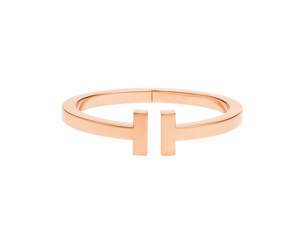 阮经天佩戴Tiffany T系列18k玫瑰金手镯