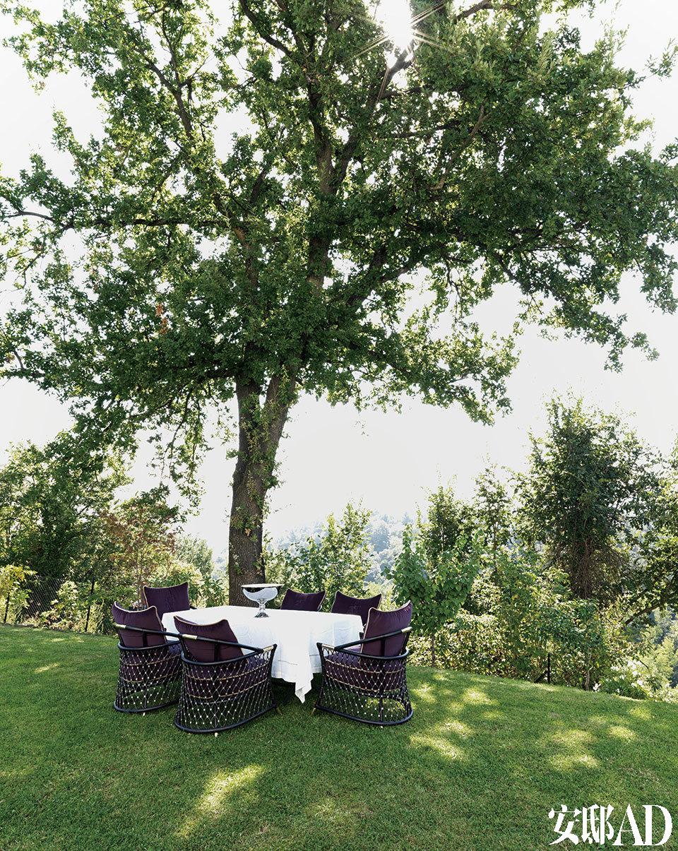 花园一侧的千年榆树下,每逢夏季一家人最喜欢在这里用餐。Bisanzio餐桌和Farnese餐椅由Samuele Mazza设计,由Visionnaire出品。