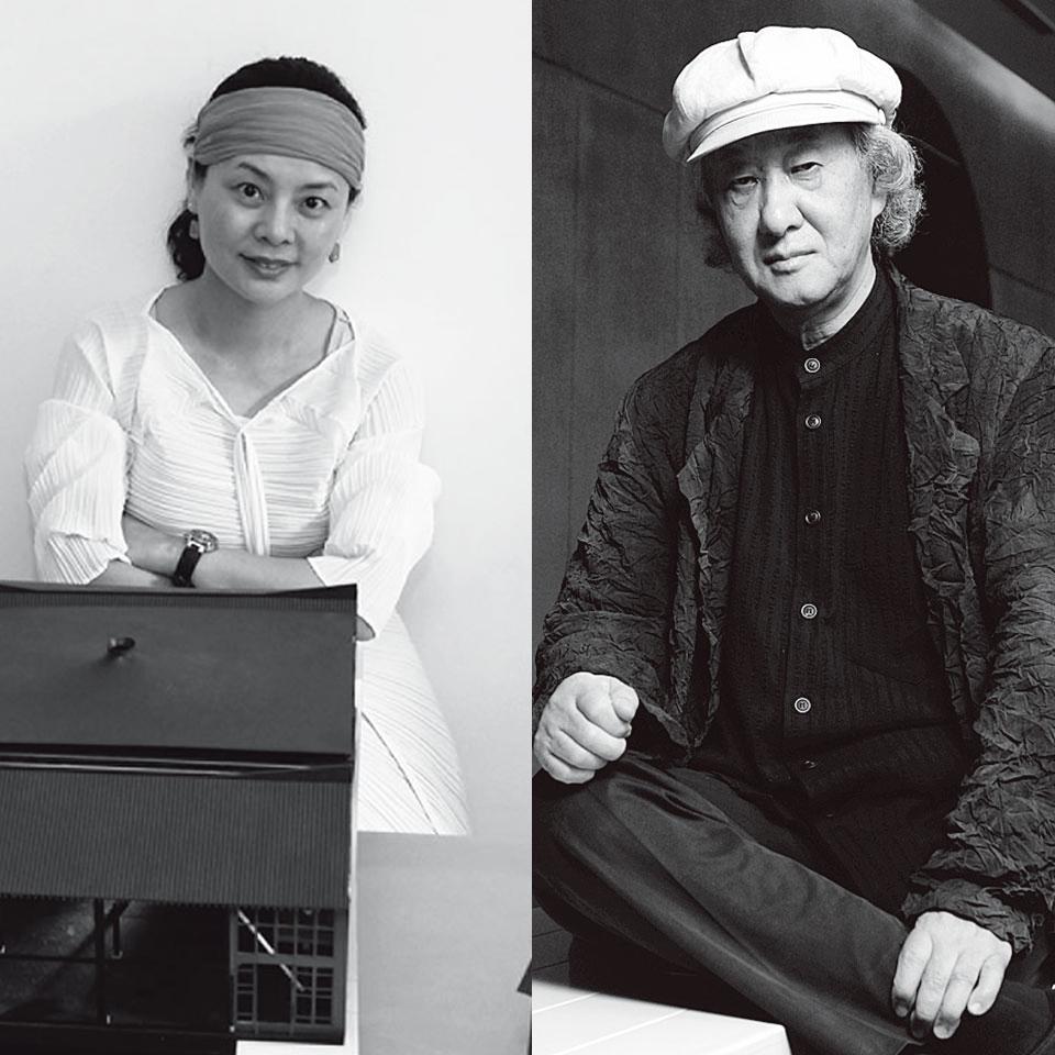 胡倩(左)矶崎新(右)