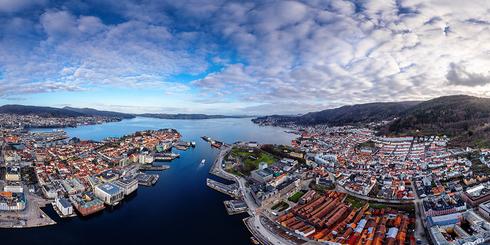 挪威卑爾根市高空全景