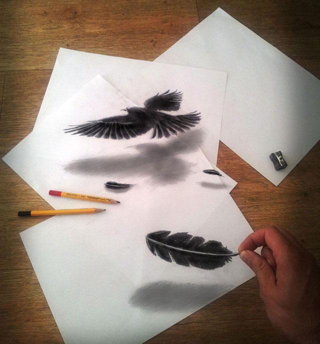 摸摸看的3d铅笔画