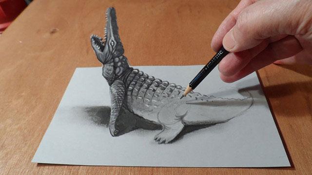 好想摸摸看的3d铅笔画