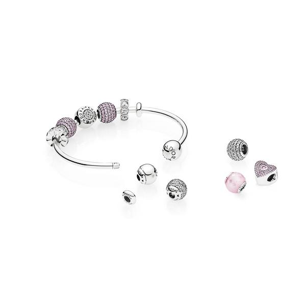 PANDORA定制你的专属手镯珠宝设计全新Moments925银开口式手镯