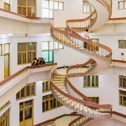 """最悲催的毕业照 女大学生""""致青春""""却被这旋转楼梯抢尽风头"""