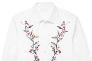 文人墨客的绣花白衬衫