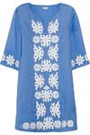 花卉刺绣苎麻纤维迷你连衣裙