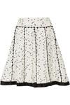 斜纹布边饰花呢半身裙