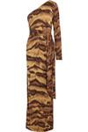 Coco 单肩动物纹真丝针织超长连衣裙