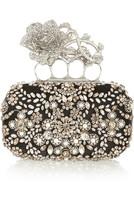 Knuckle 施华洛世奇珍珠和水晶缀饰真丝盒形手拿包