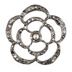 Chanel香奈儿2013春夏金属山茶花珍珠装饰胸针