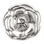 Chanel香奈儿2013春夏银色金属感皮质山茶花胸针