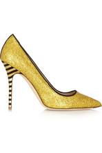 亮片金葱皮革高跟鞋