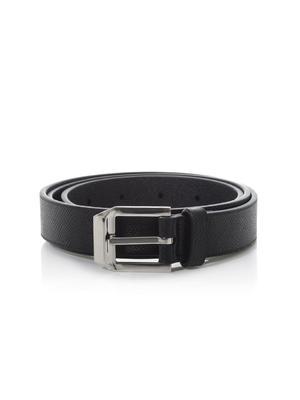 Black grained-leather belt