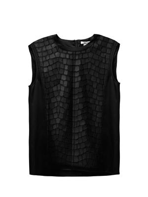 Leather patchwork sheer top.