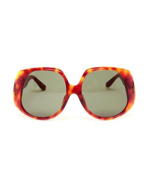 Tortoiseshell Acetate and Leather Sunglasses