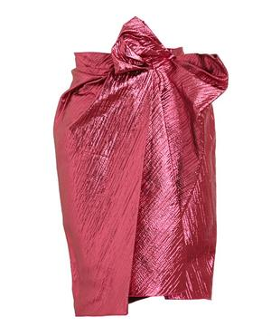Gathered Front Lurex Skirt