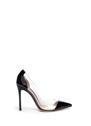 Clear PVC patent leather pumps