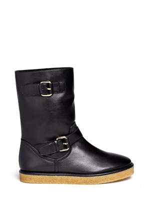 Faux-leather buckle boots