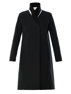 Ribbed-collar cotton coat