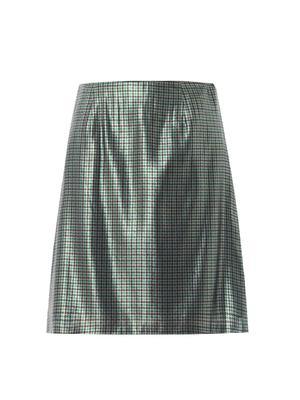 Micro-plaid silk-lamé pencil skirt