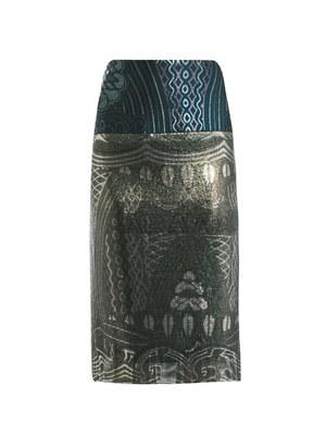 Mod print mesh pencil skirt