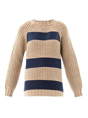 Printed stripe chunky-knit sweater