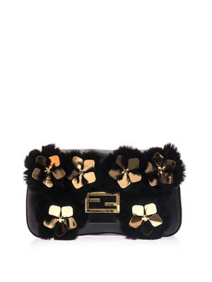 Baguette floral and fur leather bag