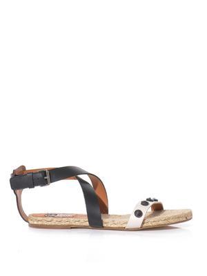 Bi-colour leather sandals