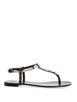 Leopard-print calf-hair and shell sandals