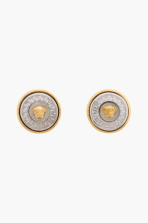 Versace Silver And Gold Logo Earrings