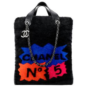 Chanel香奈儿2014春夏黑色皮毛手拎包