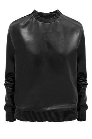 黑色柔软纳帕皮运动衫