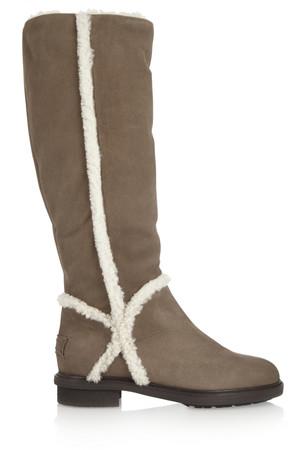 羊毛皮边饰绒面革及膝长靴