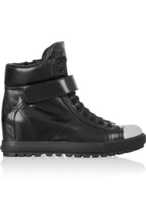 金属鞋头皮质坡跟运动鞋