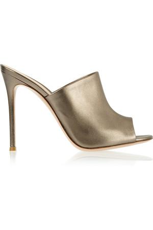 金属感皮革穆勒鞋