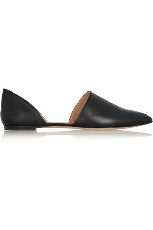 皮革尖头平底鞋