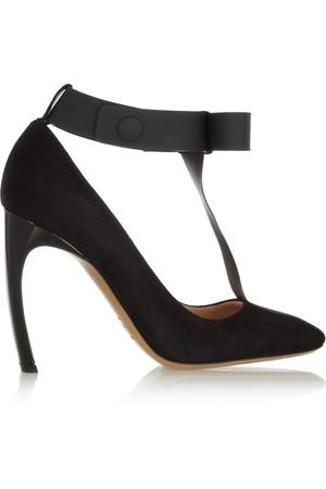 + Roksanda Ilincic 绒面革和 PVC T 字带高跟鞋