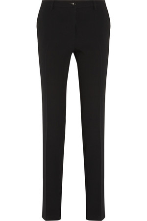 弹力绉纱直筒长裤