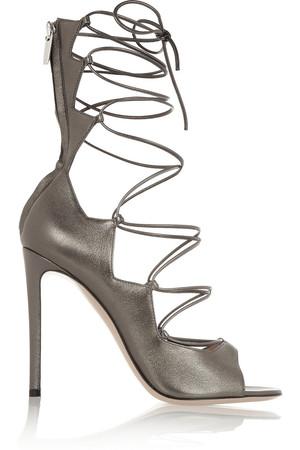 金属色皮革绑带式凉鞋