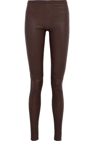 弹力皮革和棉质混纺打底裤