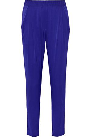 垂褶真丝混纺斜纹布长裤