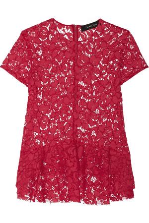 刺绣棉质混纺蕾丝装饰腰摆上衣