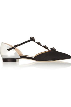 Eve 缀饰绒面革和金属感皮革尖头平底鞋