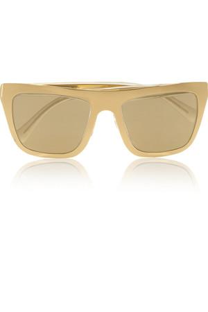 镀金 D 形框反光太阳镜