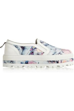 花卉印花斜纹布无带浅口运动鞋