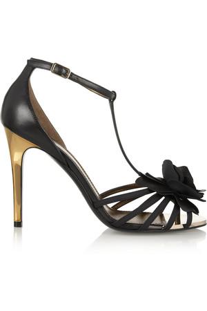 花卉贴花皮革凉鞋