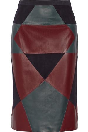 拼接牛巴革和皮革铅笔半身裙